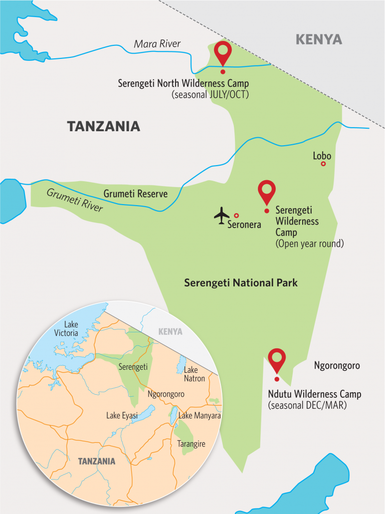 Serengeti Camps Locations